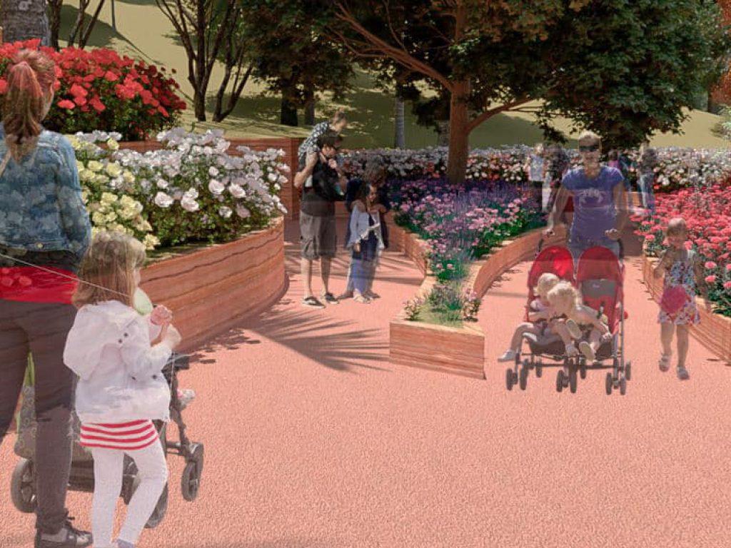 Durante el trayecto, los visitantes se encontrarán con un área en la que se exhiben diferentes tipos de rosas